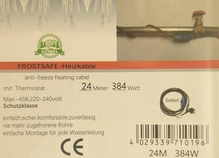 Kabel grzewczy przewód grzejny 24m z termostatem NIEBIESKI GOBEL