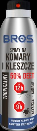 Spray na komary i kleszcze 50% DEET 180ml BROS